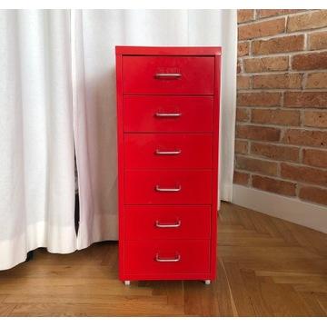 IKEA Helmer szafka metalowa czerwona na kółkach