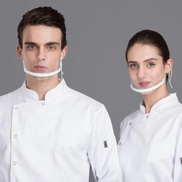 Przezroczysta maska na usta i nos z plexi