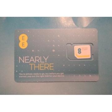 Aktywna karta SIM EE UK roaming PL EU konto 3.8GBP