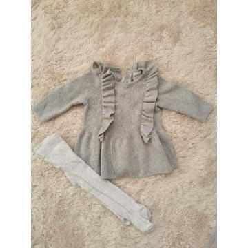 Zestaw sukienka h&m rajstopy 56 noworodek