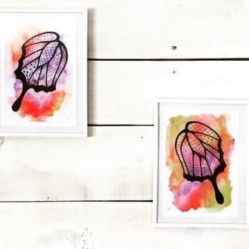 Komplet dwóch obrazów akwarelowych Skrzydła motyla