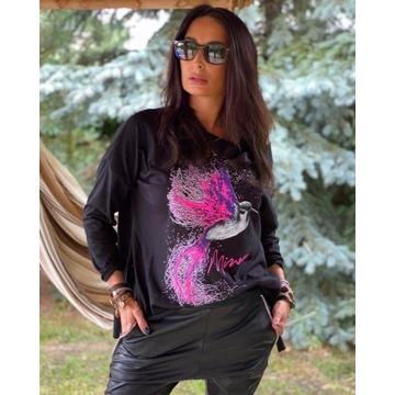 Minouu czarna bluzka Koliber pink