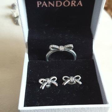 Pandora kolczyki plus pierscionek, charms