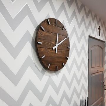 DiO Zegar ścienny z drewna duży handmade 58cm