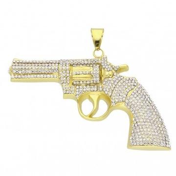 Zawieszka pistolet cyrkoniowy stalówka hit!!!