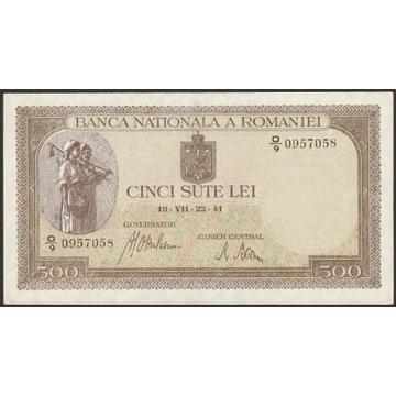 Rumunia 500 lei 1941 - O/9 - stan bankowy - UNC -
