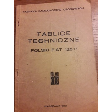 Tablice techniczne Polski Fiat 125 P Rarytas
