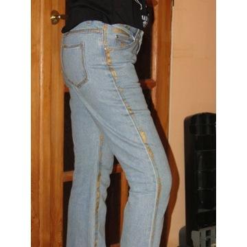 JEANSY spodnie damskie ze złotymi lampasami 38 40