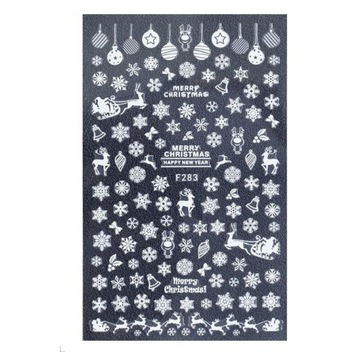 Naklejki na paznokcie białe Christmas / Śnieżynki