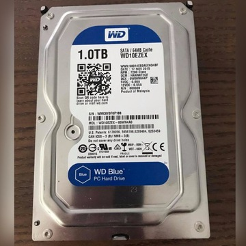 WD BLUE DYSK 1TB SATA III/3 64MB 1000GB