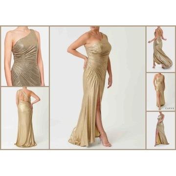 Forever unique pieka złota suknia 44 xxl wesele