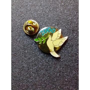 Przypinka; biały gołąb z gałązką oliwną , Pin