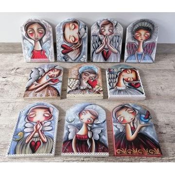 Anioł na drewnie r.M - obraz z aniołem na prezent