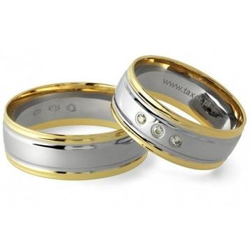 Złote obrączki ślubne para pruba 585 diament