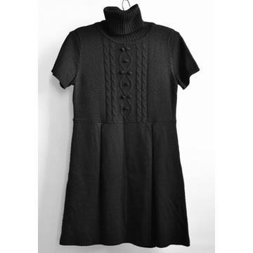 HALLHUBER sweter sukienka tunika wełna golf czarna
