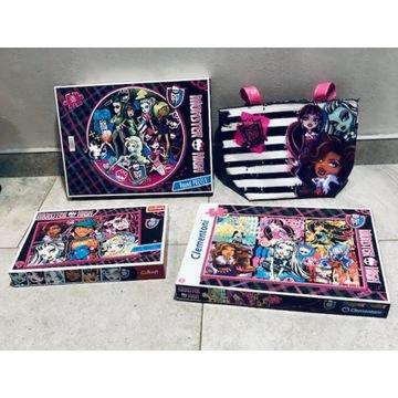 Zestaw 3 puzzli + torebka Monster High na prezent