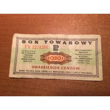 Bon Towarowy 20 centów 1969