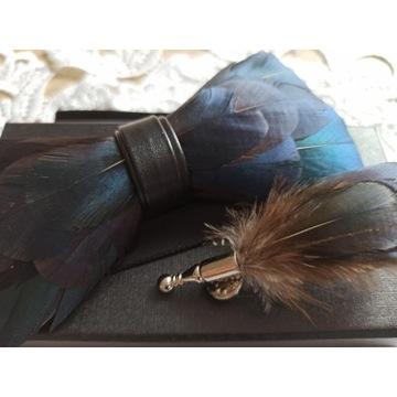 Nowa elegancka muszka z broszką nat pióra handmade
