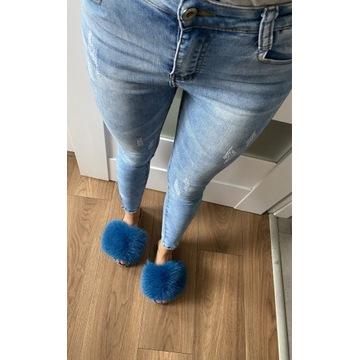 Jeansy spodnie rurki przetarcia zip zamki S