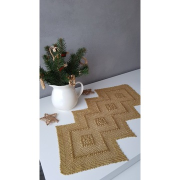 Handmade szydełko serweta obrus bieżnik złoty