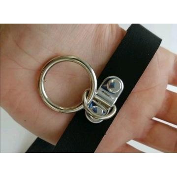 Choker obroża z pojedynczym kółkiem kółko ring