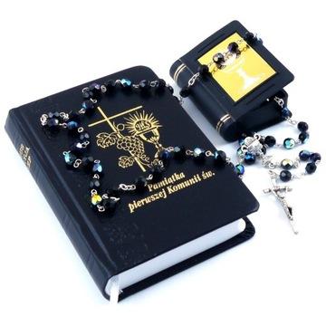 Zestaw komunijny modlitewnik różaniec etui czarny