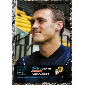 Program meczowy Notts County vs Wrexham 2005 r.
