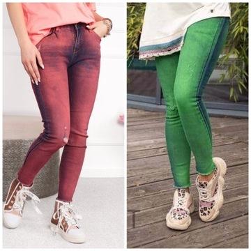 spodnie bastet jeansy zielone lub czerwone roz S