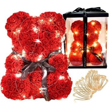 Świecący Miś z Róż 40cm Prezent Dla Kobiety U111L