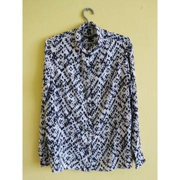 koszula H&M długi rękaw drobny wzorek czarno biały