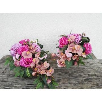 stroik na grób sztuczne kwiaty kompozycja komplet