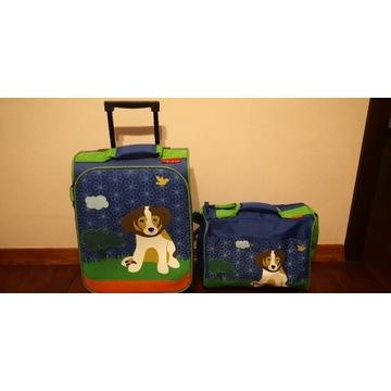 Walizka i torba podróżna dla dziecka z psem pies