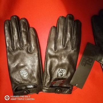 Rękawiczki Karl Lagerfeld skórzane rozm M/L. Nowe
