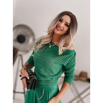 Sweterek ażurowy Laki zielony
