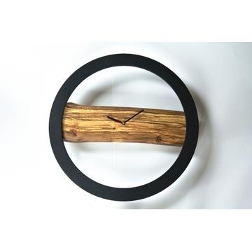 Zegar ścienny, drewniany, ręcznie robiony