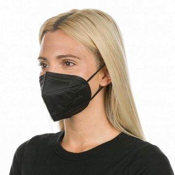 Maska Ochronna Antywirusowa 5 Warstw Czarna KN95