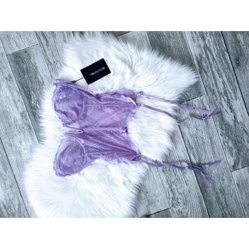 gorset pas do pończoch wrzosowy fioletowy nowy XL