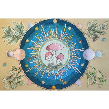 Obraz mandala handmade muchomor amanita muscaria