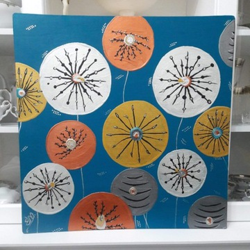 Stado Magicznych Kwiatów ręcznie malowany 60x60