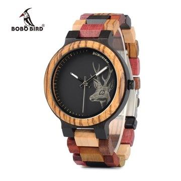 Drewniany zegarek Bobo Bird z motywem jelenia