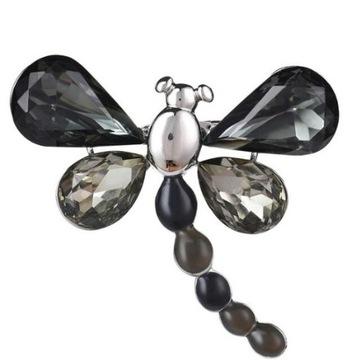 Broszka Vintage motyl z czarnymi kryształami