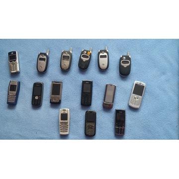 zestaw sprawnych telefonów  bez baterii.