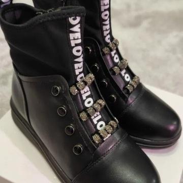 Buty dziewczęce czarne na suwak Bona, rozm.34/21cm
