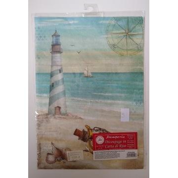Papier ryżowy Stamperia A4 morze plaża latarnia