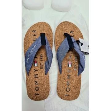 Nowe Tommy Hilfiger Japonki 44 korek sandal
