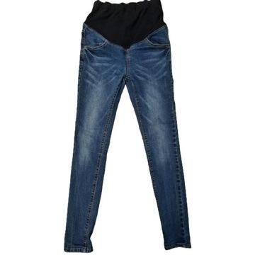 Spodnie ciążowe s/36 jeansy z panelem na brzuszek