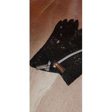 Rękawiczki damskie, długie, ciepłe, wyszyte miękki