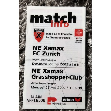 Program meczowy Xamax FC Zurich Szwajcaria 2005 r.