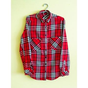 koszula Mango długi rękaw, czerwono czarno biała