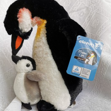 Pluszowa zabawka maskotka Pingwin duży i mały